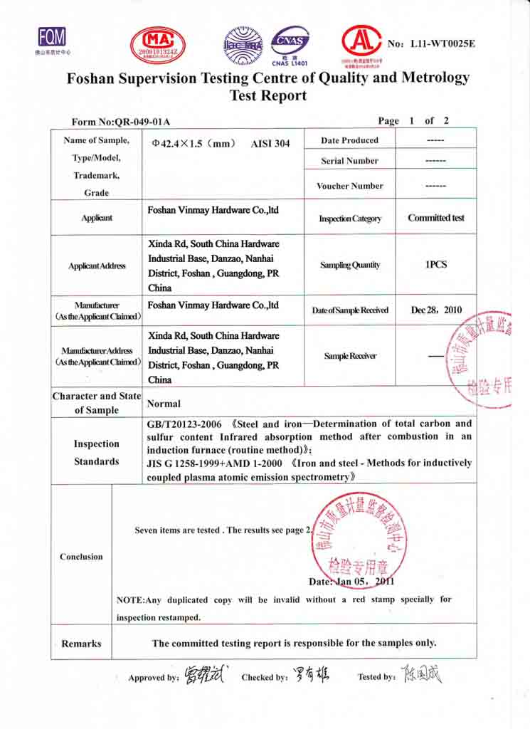 stainless 304 chemical test report page 2