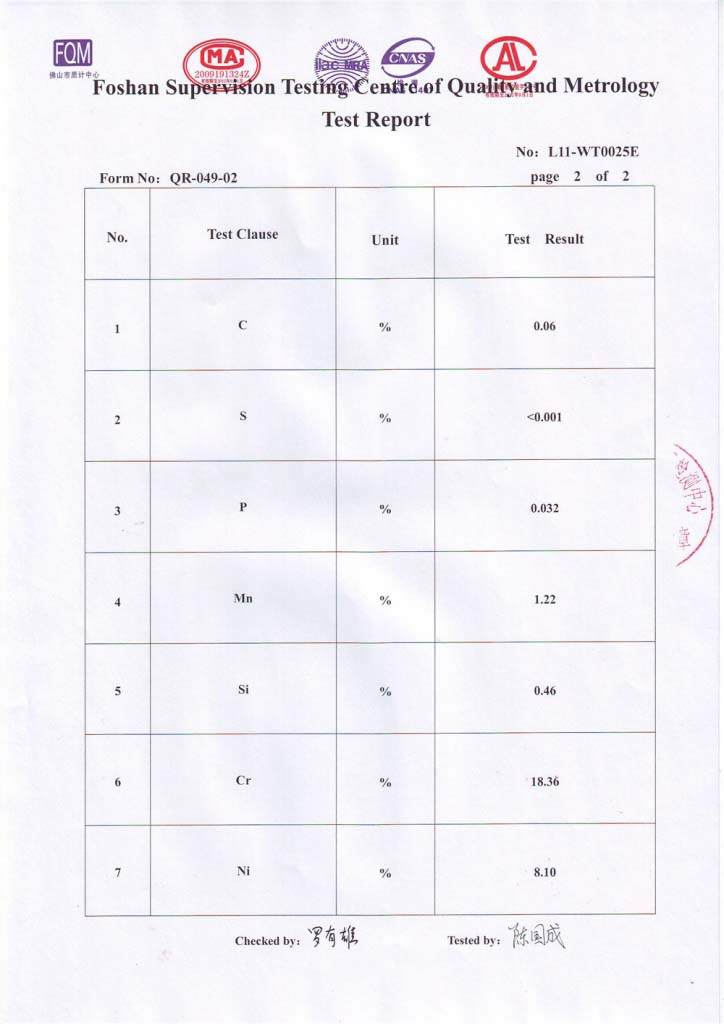 stainless 304 chemical test report page 3