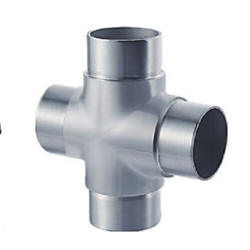 Four way tube connector for stainless steel modular railing VM2012