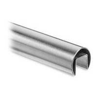 Round slotted tube for glass railing