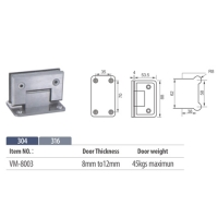 90 degree glass hinge wall to glass VM8003