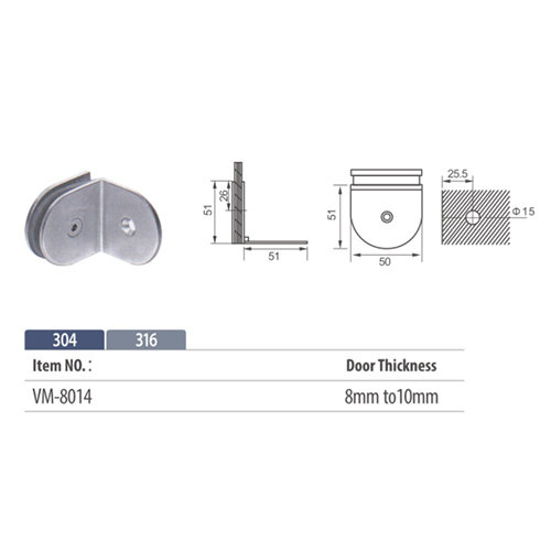 90 degree shower glass clip wall to glass VM8014