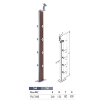 Crossbar balustrade made by stainless steel and timber VM7022